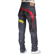 RMC Jeans Indigo Hungry Dragon 1001 Model Japanese Selvedge Denim Jeans with Black and Red Embroidery RMC3742