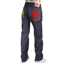 RMC Jeans 1001 Model Japanese Hand Embroidered Logo Indigo Red Line Raw Selvedge Denim Jeans RMC3744