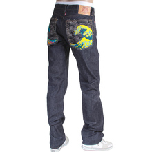 RMC Martin Ksohoh 1011 Slim Cut Indigo Raw Selvedge Denim Jeans with Large Tsunami Waves Embroidery RMC3745