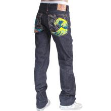 RMC Martin Ksohoh 1011 Slim Cut Indigo Raw Selvedge Denim Jeans with Large Tsunami Waves Embroidery RMC3745