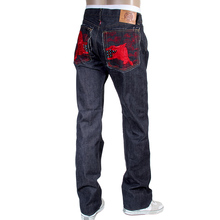 RMC Jeans 1001 Model Mens Japanese Indigo Raw Selvedge Denim Jeans with Red Lucky Horse Embroidery RMC3748