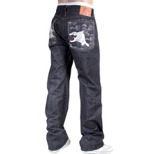 RMC Martin Ksohoh Mens Japanese Raw Indigo Selvedge 1001 Embroidered Silver Lucky Horse Denim Jeans RMC3751