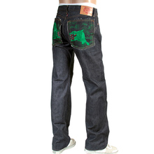 RMC Jeans mens embroidered green Lucky Horse Japanese selvedge denim jeans RMC3749