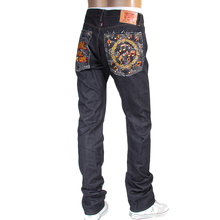 RMC Jeans No Music No Life Embroidered 1011 Model Indigo Japanese Raw Selvedge Denim Jeans RMC4125