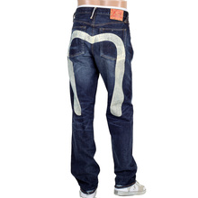 Evisu Mens Stone Washed Vintage Cut Selvedge Denim Jeans with Large Ecru Painted Diacock on Back EVIS1689