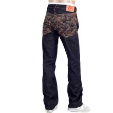 RMC Jeans Rainbow Tsunami Embroidered Raw Selvedge Vintage 1002 Cut Dark Denim Jeans REDM0064