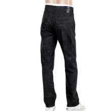 Evisu Mens Rinsed Black Vintage Cut 5 Pocket Selvedge Denim Jeans with Leather Insert Diacock EVIS0684