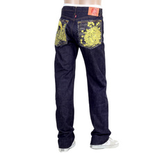 RMC Model 1001 Unwashed Japanese Mens Denim Selvedge Jeans with Gold Crane and Flowers Embroidery RMC1955