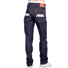 RMC Jeans Mens Japanese Selvedge 4A V1 Slim Indigo Raw Denim jeans with Silver 4A Embroidered Back Pockets RMC1920