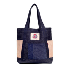 RMC Jeans RQA14036 Denim with Leather Unisex Large Tote Bag in Navy REDM4427