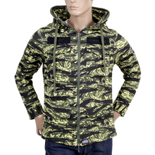 RMC Martin Ksohoh Green Tiger Tea Camo RQJ14037 Hooded Double Zip Cotton  Sweat Jacket with High Collar REDM4418