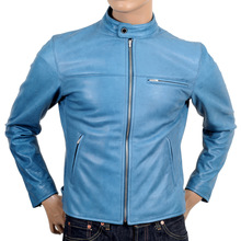 RMC Martin Ksohoh Blue Kid Leather Jacket with Nehru Jacket REDM4490