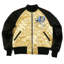 RMC Jeans X Yoropiko Samurai and 4A Hero Embroidered RMC 4A Fully Reversible Quilted Jacket in Gold and Black REDM2140