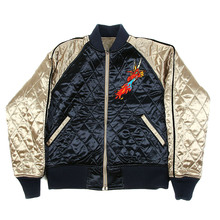RMC  X Yoropiko Dragon Claw and Hungry Dragon Embroidered Reversible Quilted Jacket in Navy and Champagne REDM2135