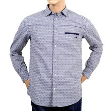 Long sleeve navy check cotton shirt AJM4007
