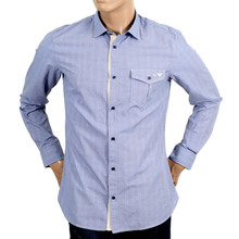 Armani blue check mens shirt AJM4017