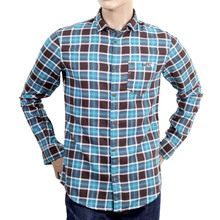 Brushed cotton blue and brown check mens shirt AJM4020