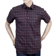Burgundy Cotton Aquascutum check shirt AQUA4429