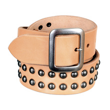 Mens Beige Leather Garrison Belt with Studs by Sugar Cane CANE5728