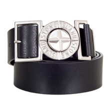 Stone Island Metal Side Release Adjustable Compass Logo Buckle Black Leather Belt SIn6700