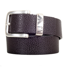 Armani Jeans Leather Belt in Dark Brown with Vintage Finished Buckle AJM5170