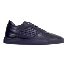 Navy Woven Leather Omega Low Sneakers for Men by Android Homme ANDR4925