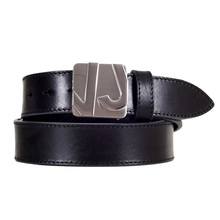 Mens Black Casual Smooth Leather Belt with Logo Embossed Silver Pin Buckle by Versace Jeans VERS5520