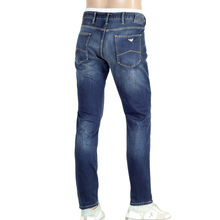 Front and Back Faded J06 Low Waist Tight Leg Slim Fit Blue Denim Jeans for Men by Armani Jeans AJM5118