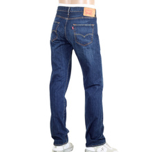 Levis Iron State 501 Original Fit Washed Dark Blue Jeans with Whiskering and Fading LEVI6205