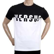 Versace Versus Short Sleeve Crew Neck Monochrome Black and White Logo Tee Shirt VERS5451