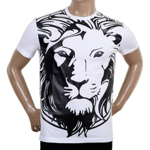 Versace Short Sleeved Regular Fit Crew Neck White T Shirt with Lion Head Print VERS5477