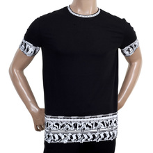 Mens Short Sleeve Crew Neck Cotton Versace T Shirt with Lion Head Border Print VERS5479