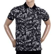 Versace Short Sleeve Regular Fit Black Polo Shirt with White Graffiti Print VERS5450