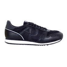 Armani Jeans Laced Front Black Low Top Sneakers with Self Coloured AJ Logos AJM6037