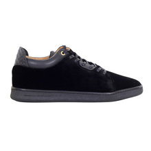 Black Velvet Getty Low Android Homme Trainers with Gold Eyelets and Leather Trim at Ankle Collar ANDR6242