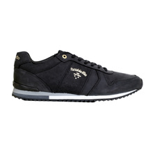 Pantofola d'Oro Teramo Black Leather Mens Uni Low Trainers 3510056 with Black Lace PANT6349