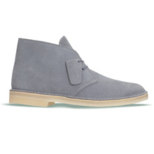 Mens Lace Up Soft Blue Grey Suede Desert Boots with a Crepe Sole from Clarks Originals CLAR6364
