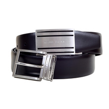 Mens Galen Leather Belt with Two Logo Embossed Changeable Buckles by Hugo Boss Black BOSS5808