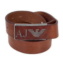 Armani Jeans Mens Tan Leather Belt With Logo on Rectangular Buckle AJM6483