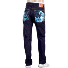 RMC Martin Ksohoh Indigo Raw Selvedge Denim Jeans with Dragon and Tsunami Wave Embroidery REDM4456