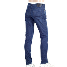 Hugo Boss Black Washed Indigo Blue Stretch Slim Fit Jeans with Zip Fly and Fading Effect BOSS5798
