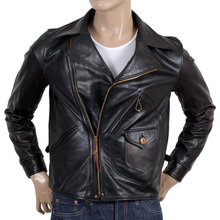 Sugar Cane Mens Leather Black horsehide Aviator Jacket CANE5802