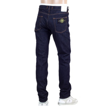 Dark Washed Indigo Slim Fit Mens Denim Jeans with Five Pockets and Button Fly by Stone Island SIn7460