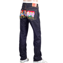 RMC Jeans Rare Limited Edition Raw Selvedge Dark Indigo Denim Jeans with Exclusive Warlords Embroidery REDM0055