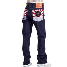 Yoropiko Exclusive Dark Indigo Taiko Flag Raw Selvedge Denim Jeans by MYM for Men YORO0663