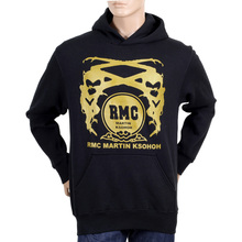 RMC Martin Ksohoh Long Sleeve Kangaroo Style Pocket Regular Fit Black Hoodie with Gold Logo Print REDM0705