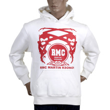 RMC JeansRegular Fit Red Printed Logo Hoodie in Ivory with Kangaroo Style Pocket REDM0714