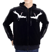 RMC Martin Ksohoh Mens Black Hooded Faux Leather Trim Regular Fit Jacket with Sakura Crane Embroidery REDM2902