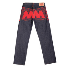 RMC Jeans Exclusive Vintage Indigo Raw Selvedge Denim Jeans with 5 Star Red 4A Like Black Embroidery REDM2907