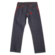 RMC Martin Ksohoh Genuine Exclusive Vintage Indigo Raw Selvedge Denim Jeans with Red 4A Star Embroidery REDM2908